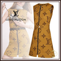 Louis Vuitton MONOGRAM Monogram A-line Sleeveless U-Neck Medium Elegant Style