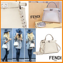 FENDI PEEKABOO 2WAY Plain Leather Handmade Elegant Style Shoulder Bags