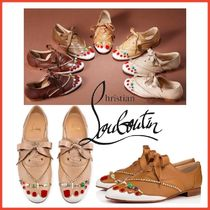 Christian Louboutin Round Toe Leather Loafer Pumps & Mules