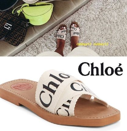 Open Toe Rubber Sole Casual Style Blended Fabrics Plain