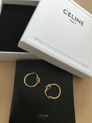 CELINE Knot Small Hoops In Brass With Gold Finish