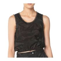 CHANEL Crew Neck Short Silk Blended Fabrics Chain Plain Cropped