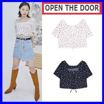 OPEN THE DOOR Flower Patterns Cotton Short Sleeves Shirts & Blouses