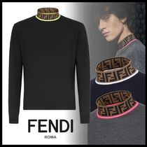 FENDI Pullovers Wool Long Sleeves Plain Knits & Sweaters