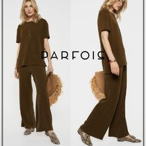 PARFOIS Casual Style Plain Cotton Long Pants