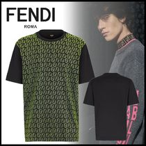 FENDI Crew Neck Street Style Plain Cotton Short Sleeves