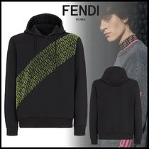 FENDI Pullovers Street Style Long Sleeves Plain Cotton Hoodies
