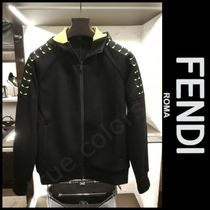 FENDI Street Style Long Sleeves Plain Cotton Oversized