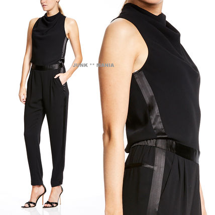 Dungarees Sleeveless Plain Long High-Neck Elegant Style