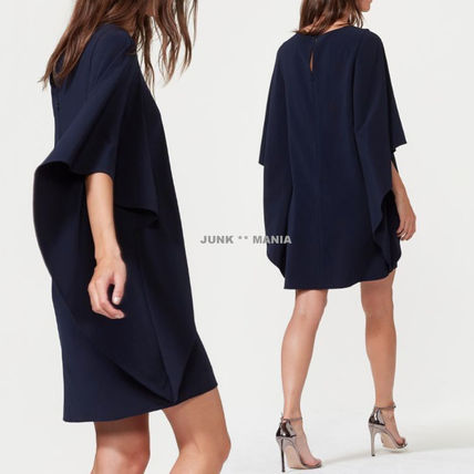 Crew Neck Short Dolman Sleeves Plain Elegant Style Dresses