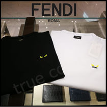 FENDI Crew Neck Pullovers Street Style Plain Cotton Short Sleeves