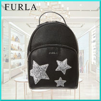 FURLA Star Casual Style Leather Backpacks
