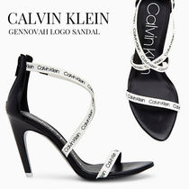 Calvin Klein Open Toe Casual Style Leather Pin Heels Logo Heeled Sandals