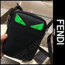 FENDI BAG BUGS Street Style Plain Leather Messenger & Shoulder Bags