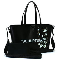 Off-White Flower Patterns A4 2WAY Plain Totes