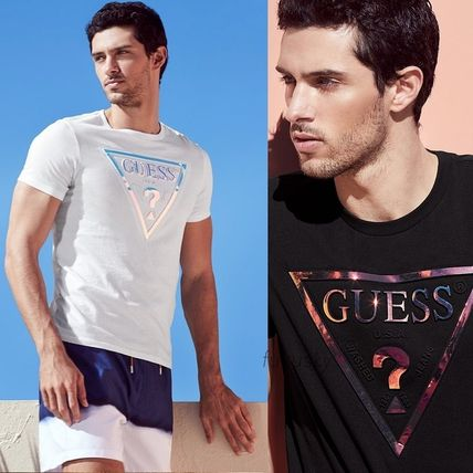 Guess Crew Neck Crew Neck Stripes Cotton Short Sleeves Crew Neck T-Shirts