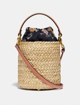 Coach Flower Patterns Purses Straw Bags