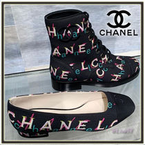 CHANEL Round Toe Lace-up Tweed Elegant Style Lace-up Boots