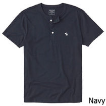 Abercrombie & Fitch Henry Neck Cotton Short Sleeves Henley T-Shirts