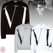 VALENTINO VLTN Crew Neck Pullovers Street Style Long Sleeves Plain Cotton