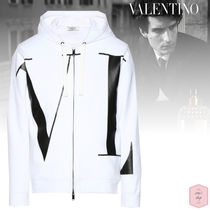 VALENTINO VLTN Pullovers Street Style Long Sleeves Plain Cotton Logo