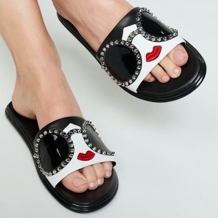 Open Toe Rubber Sole Casual Style Studded Leather