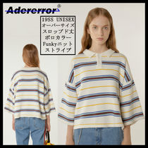 ADERERROR Stripes Unisex Cropped Cotton Oversized Knits & Sweaters