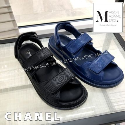 33600ee9d415 ... CHANEL Flat Casual Style Leather Sport Sandals Flat Sandals ...