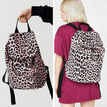 LAZY OAF Leopard Patterns Casual Style Unisex A4 Backpacks