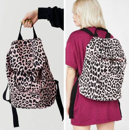 Leopard Patterns Casual Style Unisex A4 Backpacks