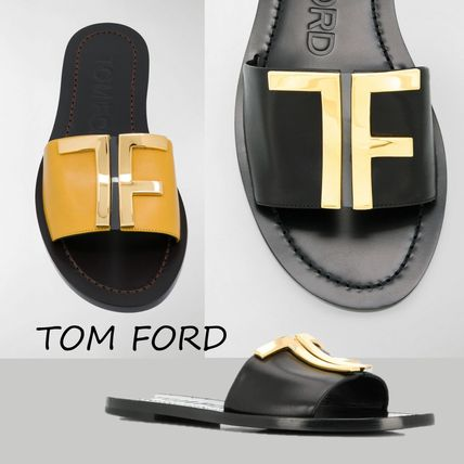 Open Toe Casual Style Blended Fabrics Plain Leather