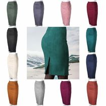 Pencil Skirts Faux Fur Plain Medium Midi Skirts
