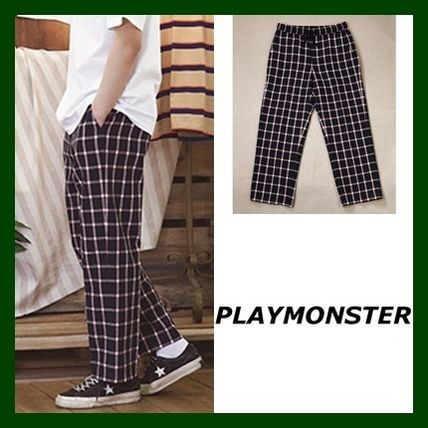 Glen Patterns Casual Style Unisex Street Style Pants