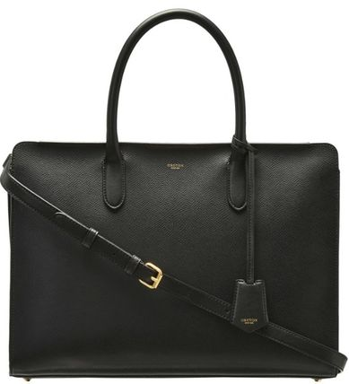 Unisex A4 2WAY Plain Leather Office Style Logo Totes