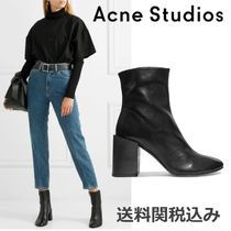 Acne Plain Toe Plain Leather Elegant Style Chunky Heels