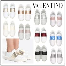 VALENTINO Rubber Sole Studded Leather Low-Top Sneakers