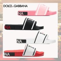 Dolce & Gabbana Open Toe Rubber Sole Blended Fabrics Bi-color Leather