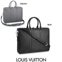 Louis Vuitton TAIGA A4 2WAY Plain Leather Business & Briefcases