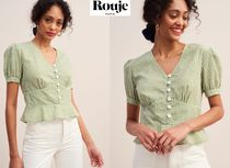 Rouje Gingham Casual Style Puffed Sleeves Bi-color Cotton