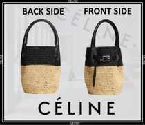 CELINE Calfskin 2WAY Straw Bags