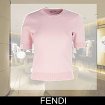 FENDI Crew Neck Plain Medium Short Sleeves T-Shirts