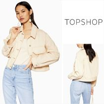 TOPSHOP Short Casual Style Denim Plain Jackets