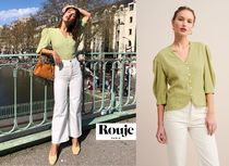 Rouje Dots Puffed Sleeves Bi-color Elegant Style Shirts & Blouses