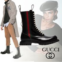 GUCCI Stripes Plain Toe Plain Leather Engineer Boots
