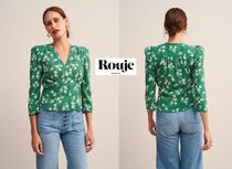 Rouje Flower Patterns Bi-color Elegant Style Shirts & Blouses