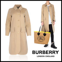 Burberry Other Check Patterns Wool Plain Long Trench Coats