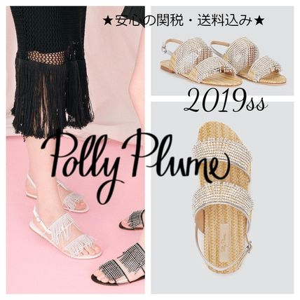 Open Toe Casual Style Blended Fabrics Leather Fringes