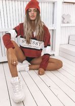 STUSSY Short Casual Style Street Style Long Sleeves Cotton Cropped