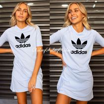 adidas Crew Neck Short Casual Style Street Style Plain Cotton