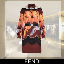FENDI Silk Long Sleeves Other Animal Patterns Medium Dresses